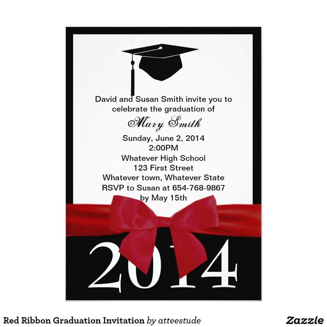 Red Ribbon Graduation Invitation | Craft