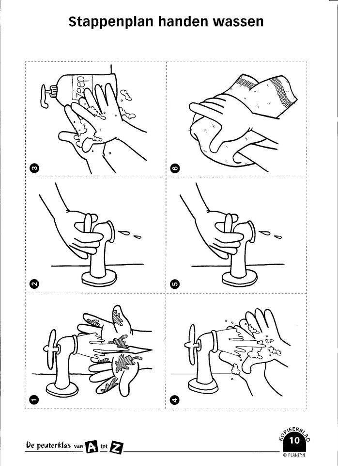 kleurplaat handen wassen peuters stappenplan handen wassen