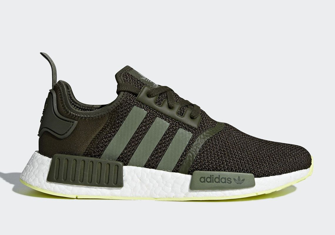 225142160 adidas Pairs Night Cargo With Neon On The NMD R1