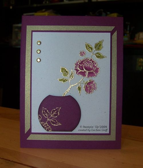 hand crafted card ... Asian Artistry by sandi mac ... gold embossing, brads and mat paper ... simple and elegant ...