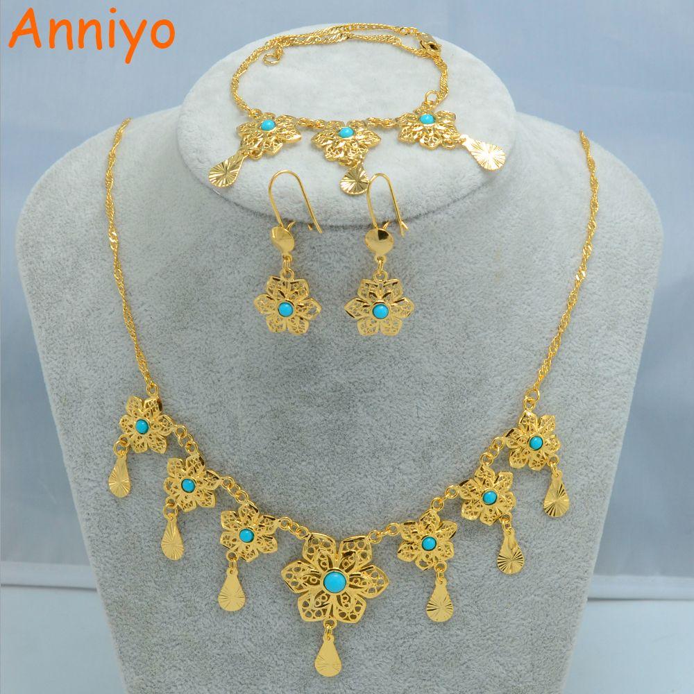 Anniyo middle east flower jewelry set necklace bracelet earrings