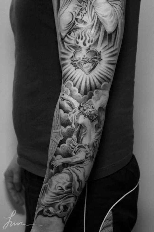 Imagen relacionada manga tatuajes tatuaje angel y - Mangas de tattoo ...