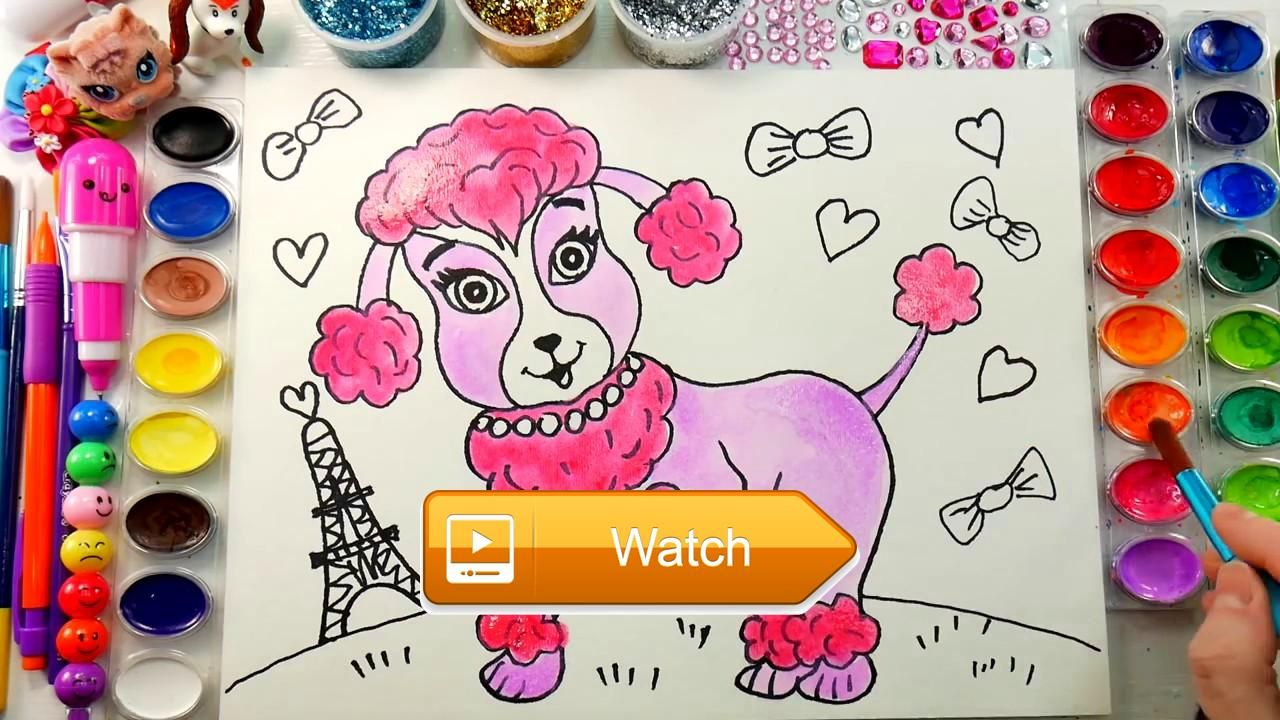 Poodle puppy coloring page draw cute animals dog for kids to learn ...