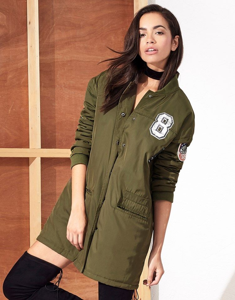 a6b39ee32 Bring the style of the season with the comfort of this bomber jacket ...