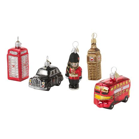 From BM shop: set of five glass hanging decorations based on iconic sights in London.