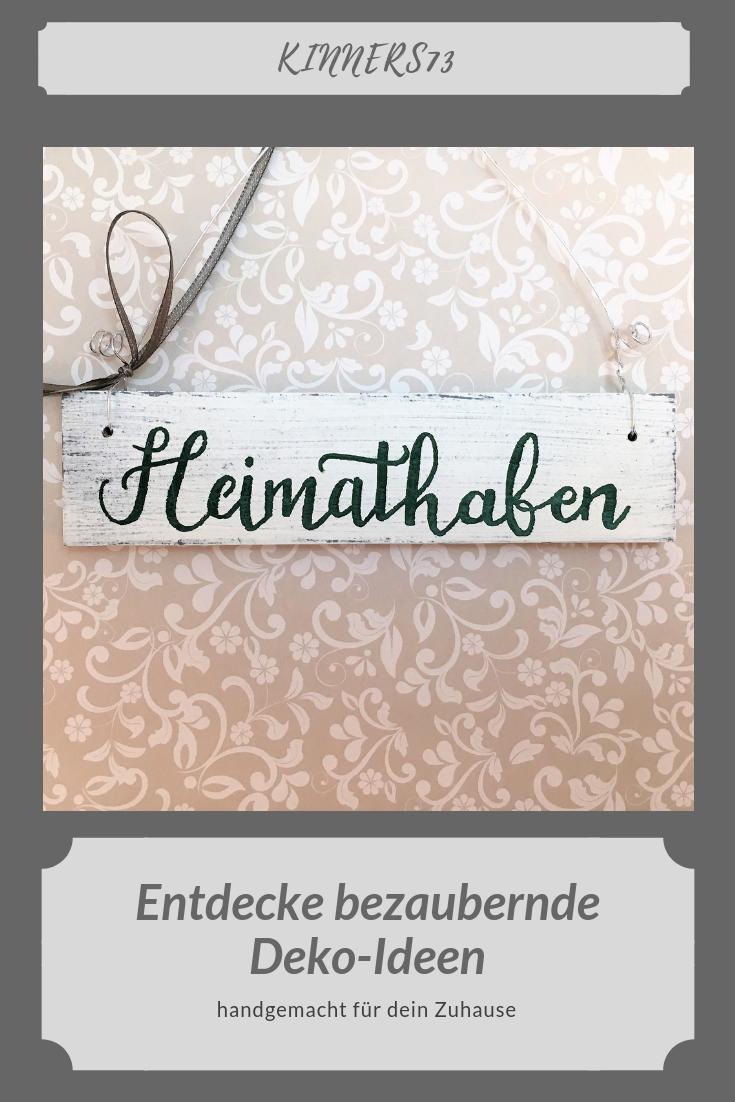 Wooden door sign Heimathafen (handpainted)