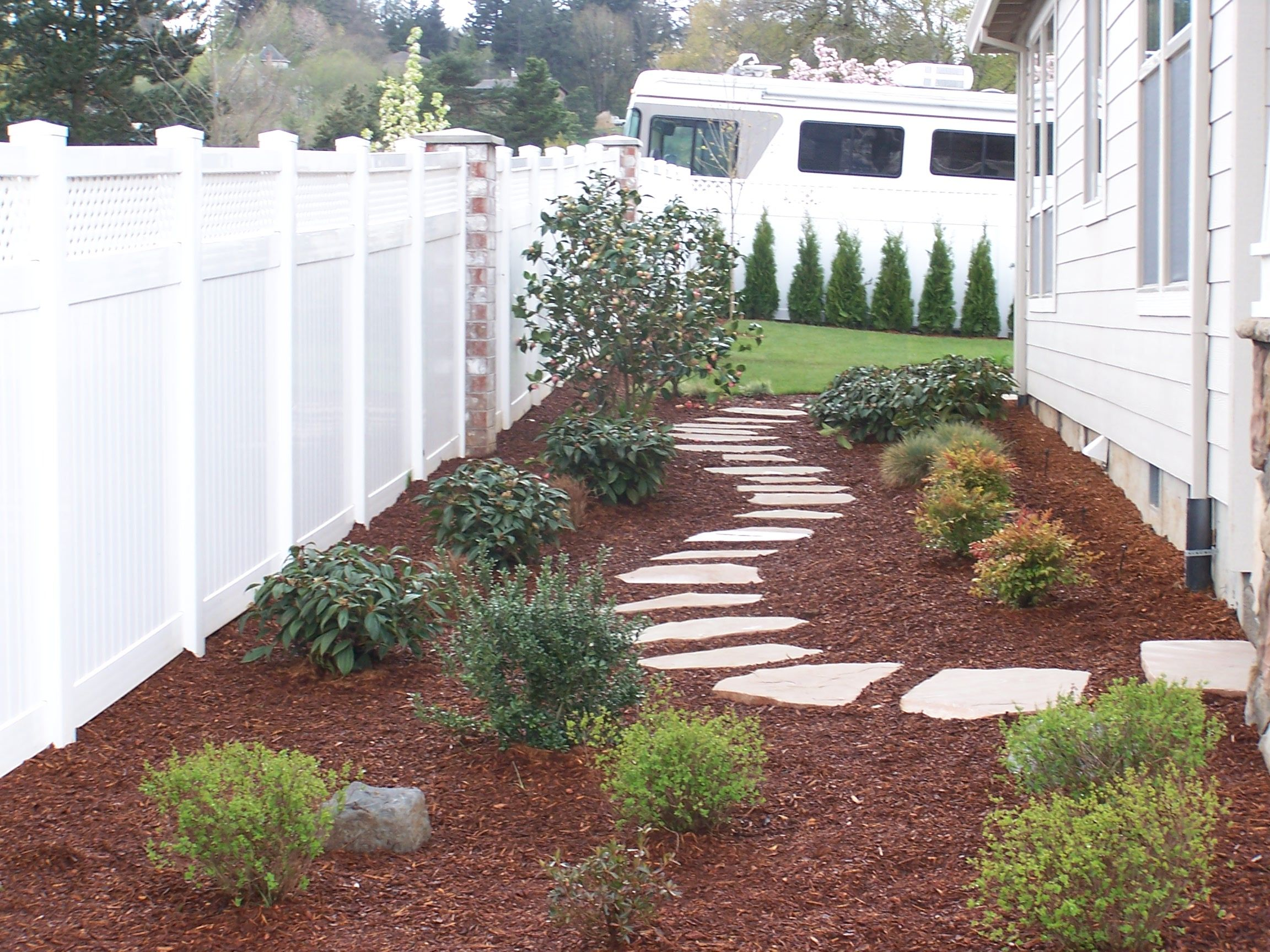side yard idea for where grass will not grow at gate on north side of house love the flagstone. Black Bedroom Furniture Sets. Home Design Ideas