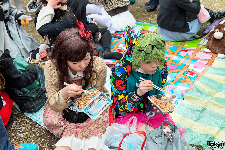 Harajuku fashion kids at a cherry blossom viewing event
