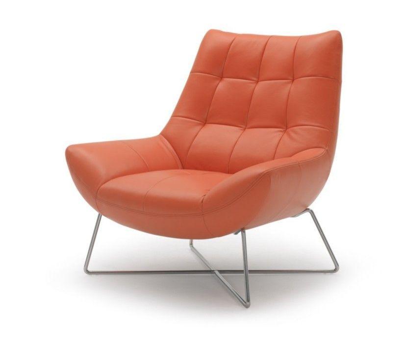 Tremendous Divani Casa Istra Modern Orange Leather Lounge Chair Machost Co Dining Chair Design Ideas Machostcouk