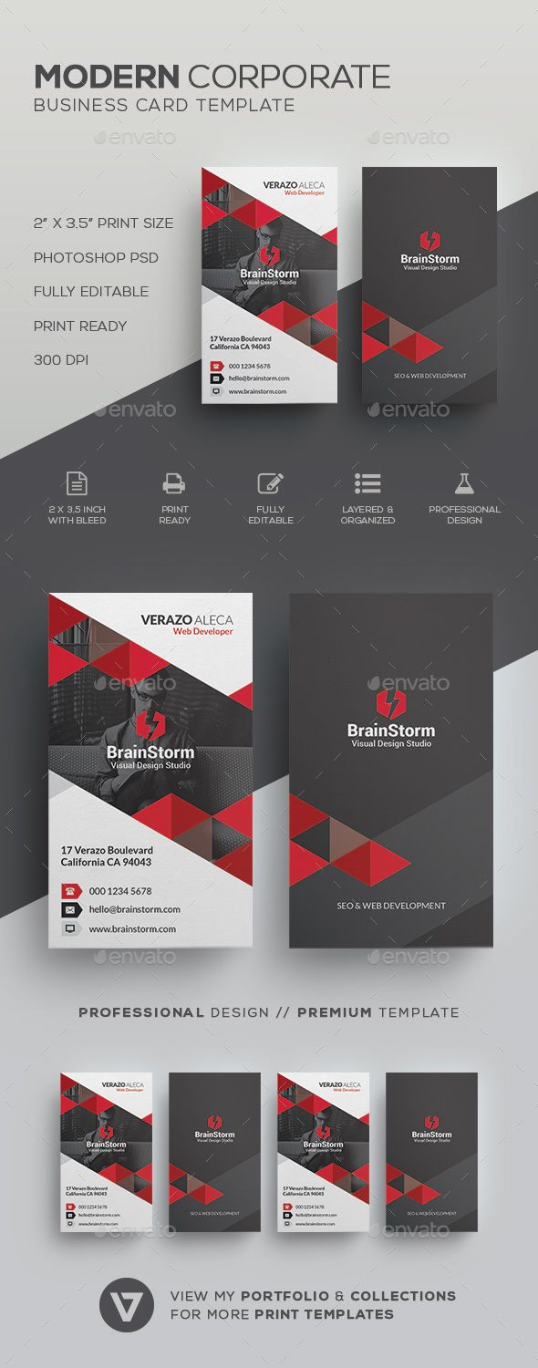 Modern Business Card Template | Card templates, Corporate business ...