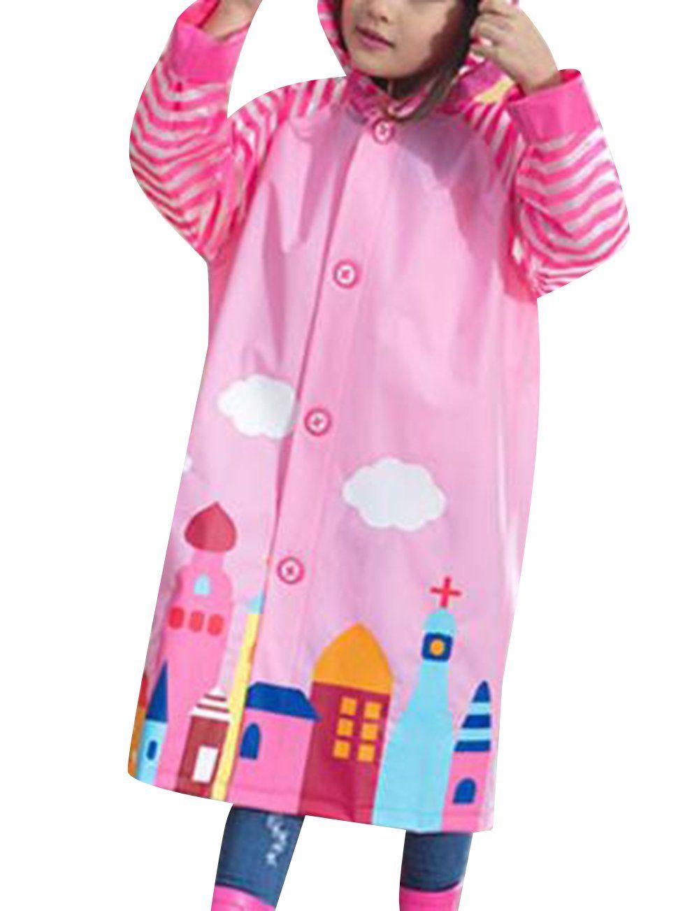 e11ab9689650 TRENDY XU Unisex Childern Kids Cartoon Raincoat Hooded Rain Jacket ...