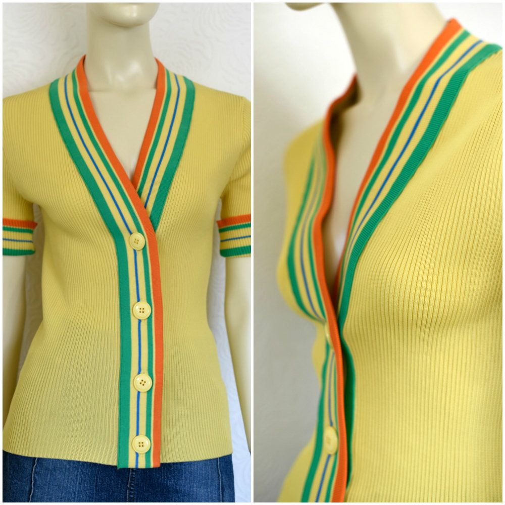 Vintage Knit Cardigan | 60s Sweater | Italian Knits | Yellow ...