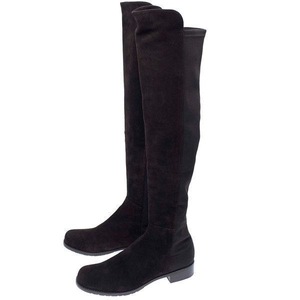 Stuart Weitzman Dark Brown 5050 Suede Knee Boots (930 CAD) ❤ liked on Polyvore featuring shoes, boots, stretch boots, suede flats, chukka boots, rubber sole boots and flat heel boots