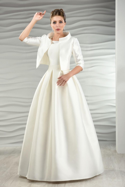 Satin Brautkleid mit Jacke und Kellerfalten - Kleiderfreuden in