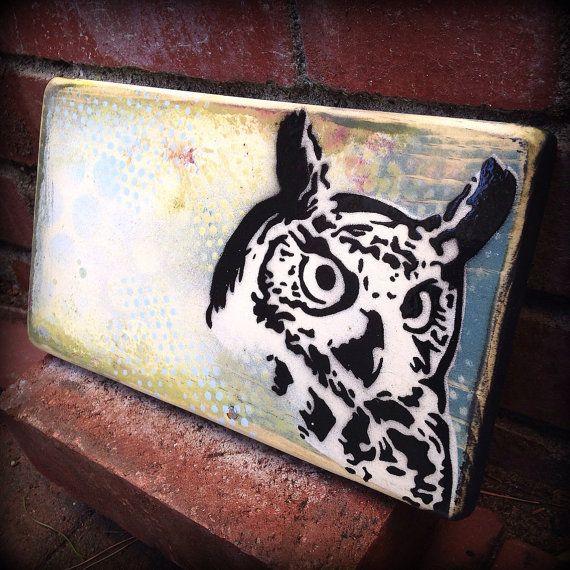 Sage hibou Original Graffiti Art peinture sur par thefactory101, $45.00