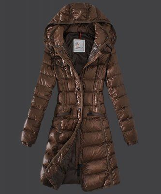 New Cheap Moncler Hermine Down Coats Womens Windproof Coffee ...