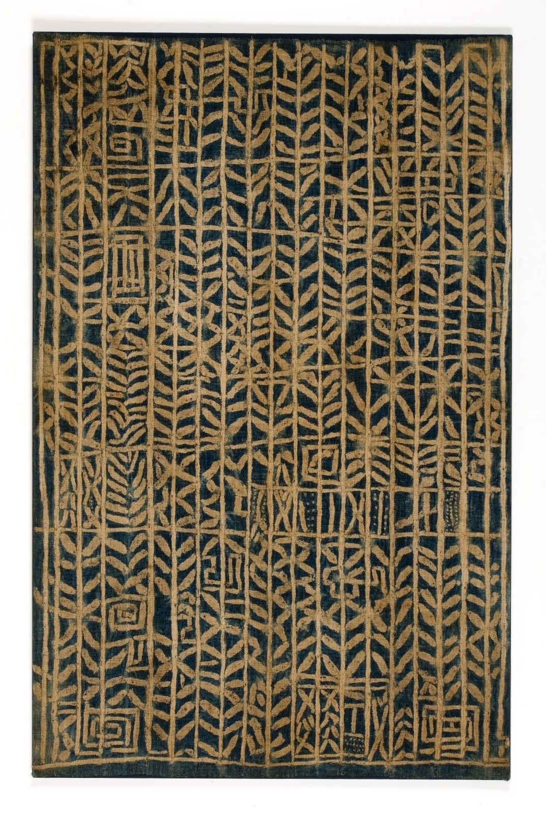 Africa | Ndop Royal Hanging for Ceremonial and Funerary Occasions. Bamum or Bamileke people, Cameroon | First half 20th century | Stripwoven cotton stitch-resist dyed with indigo