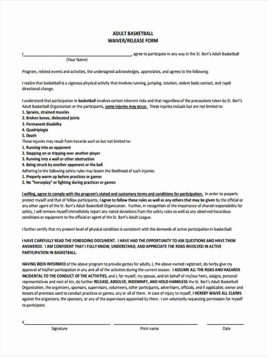 30 Sports Waiver Form Template In 2020 With Images Email