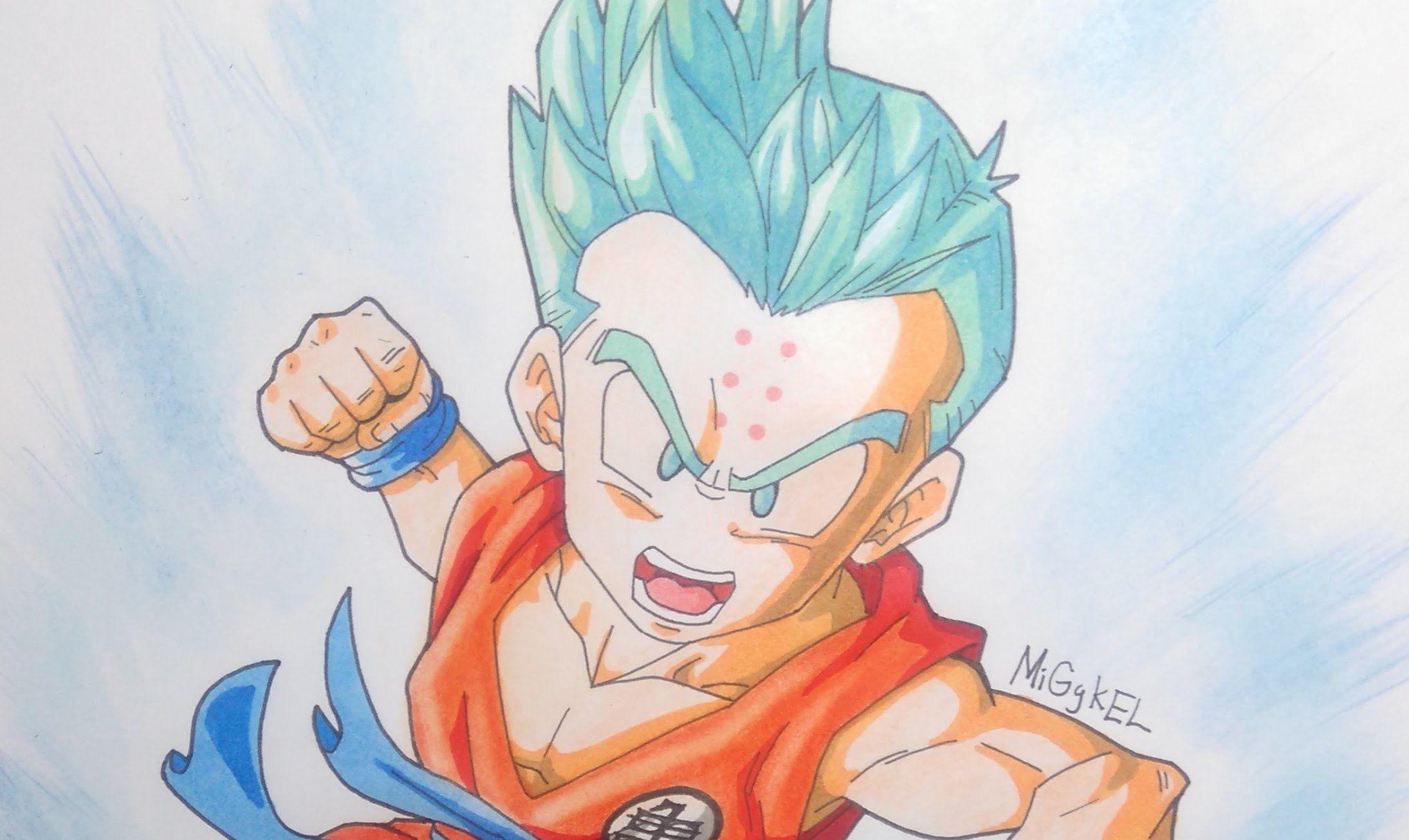 Goku Super Sayayin Dios Azul Para Colorear: Dibujando Krilin Super Saiyan Dios Pelo Azul RETO Con