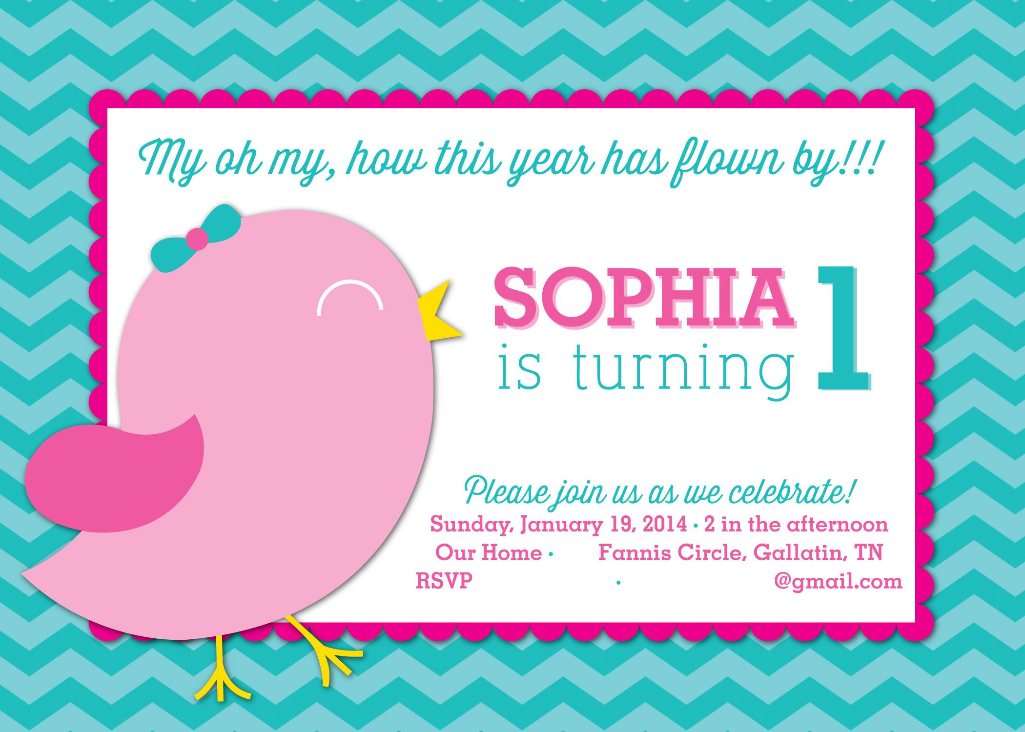 bird themed birthday party invitation Bird 1st Birthday Party