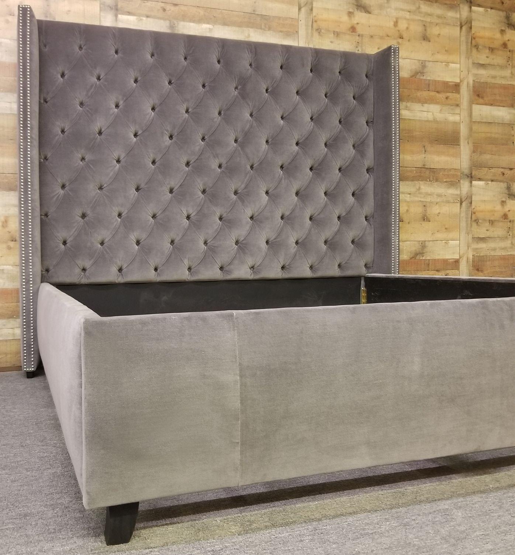 Adler Bed In Restoration Hardware Velvet Color Vintage Granite Living Room Sofa Design Custom Headboard