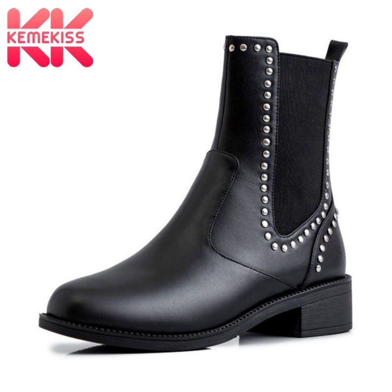 KemeKiss Hot Sale Real Leather Ankle Boots Platfrom Round Toe Flats Short Boot Rivet Chelsea Shoes W