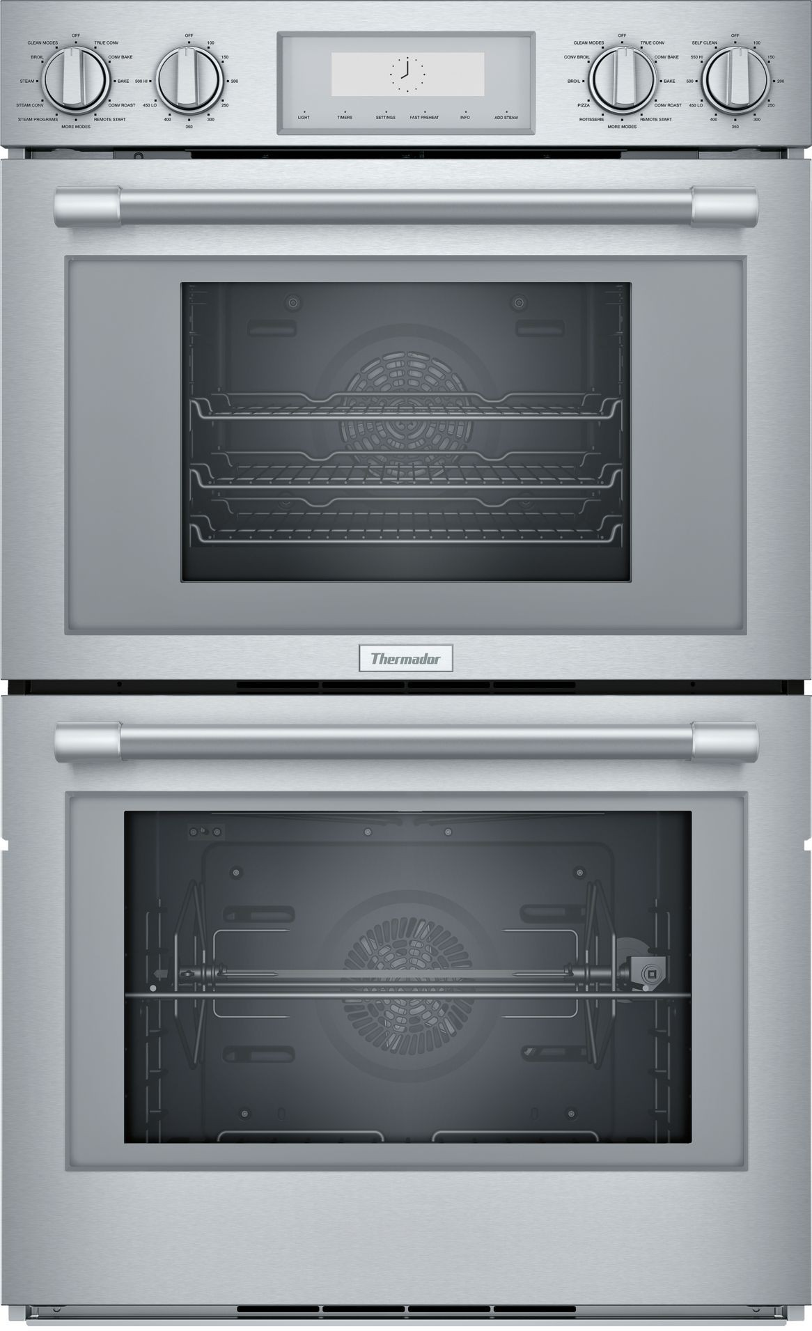 Thermador Pods302w 30 Inch Double Wall Oven With Softclose Door Telescopic Rack Rotisserie Self Clean Wi Fi Led Lights Convection And Meat Probe Wall Oven Double Oven Thermador Double Oven