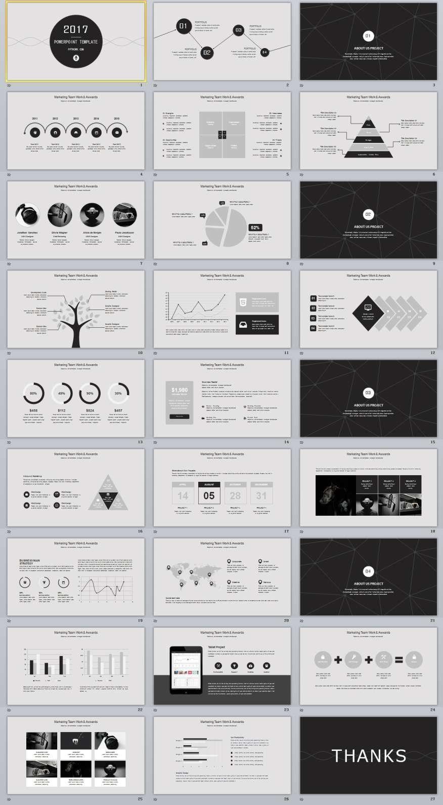 27+ gray multipurpose powerpoint templates | daaaa | pinterest, Modern powerpoint