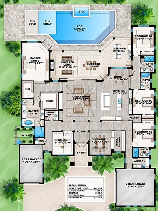 House Plan 207 00033 Coastal Plan 4 018 Square Feet 4 Bedrooms 4 5 Bathrooms Florida House Plans House Blueprints New House Plans