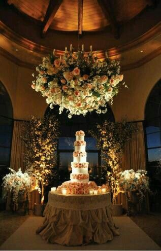 Wedding..   Love the chandelier with flowers