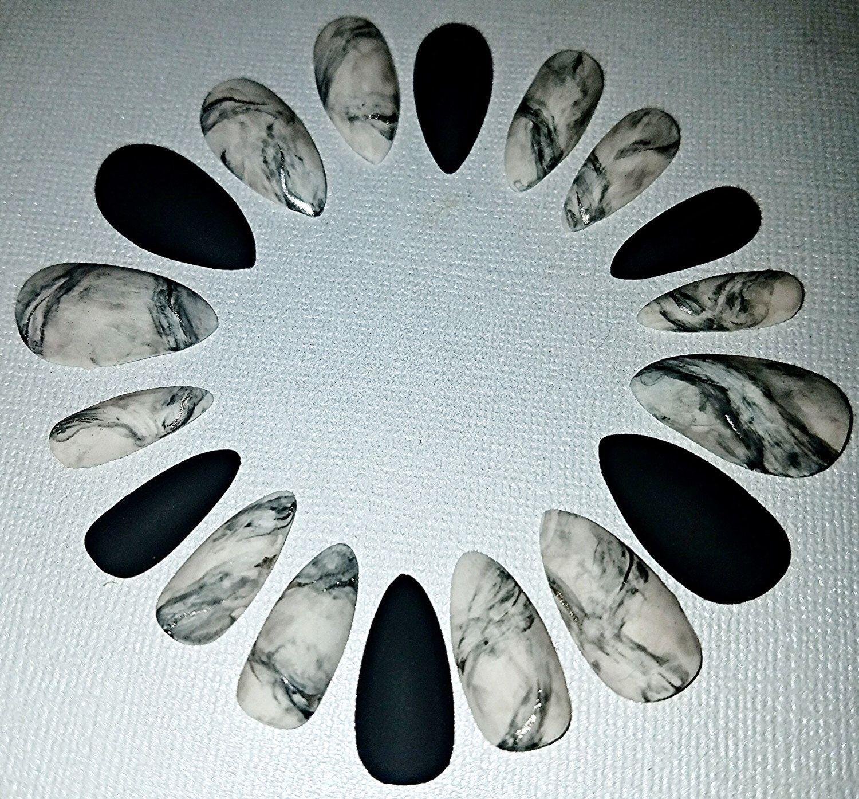 Follow @jordanfarrell41 for more pins like: Marble Stiletto Nails ...