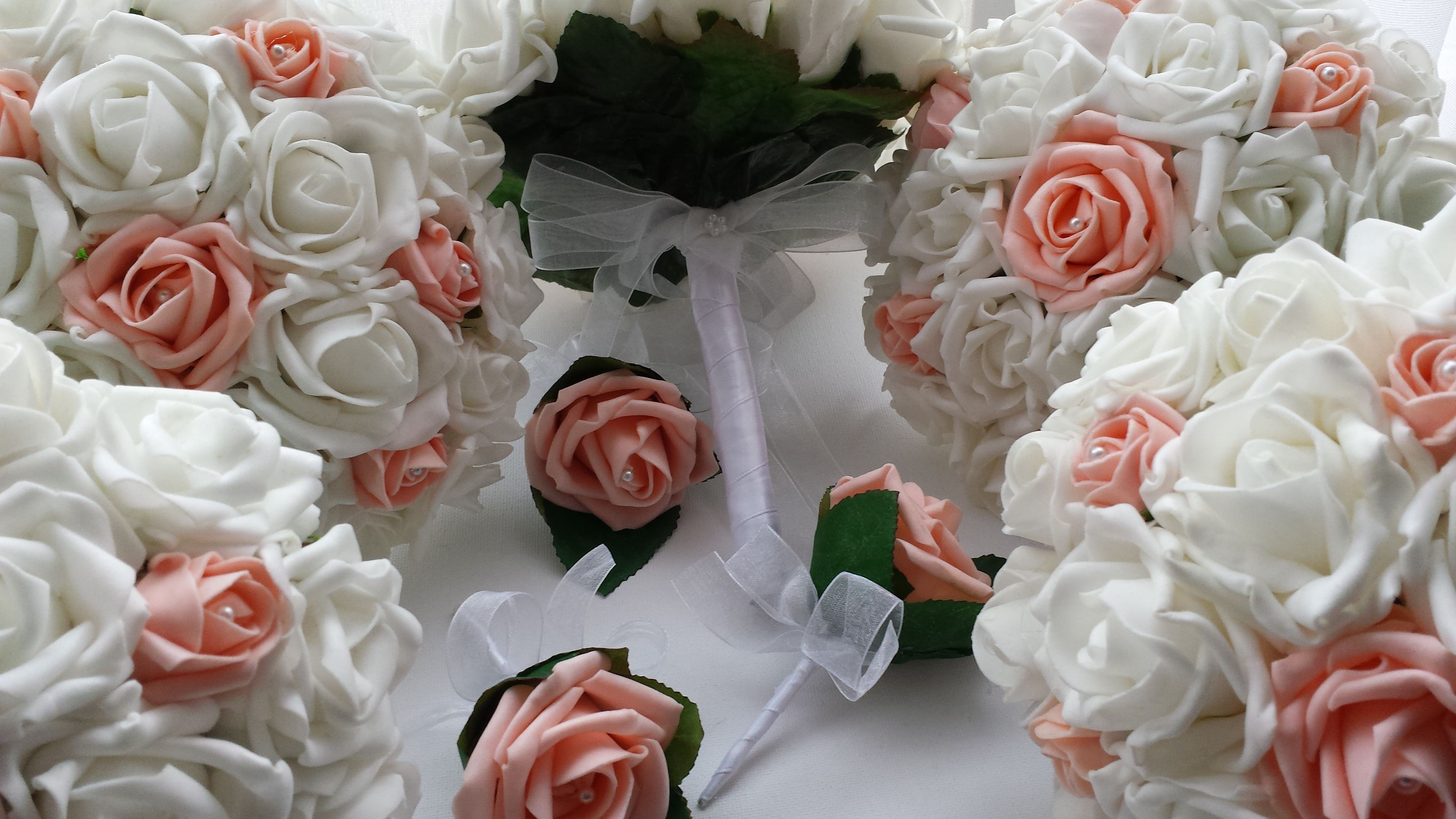 Peach And White Wedding Flowers Bridal Bridesmaids And Buttonholes