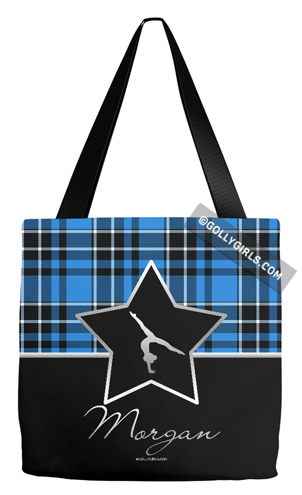 89fba1c059 Golly Girls  Personalized Blue Plaid and Silver Star Gymnastics Tote Bag  only at gollygirls.com