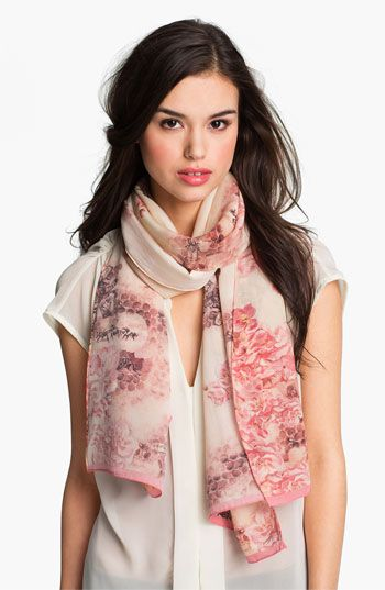 Oblong, lightweight scarves are your friend. Be sure there is a minimal amount of material and simply let it hang vertically. It's hard to tell if this color pink is too warm, but the small print with larger spaces around it work well with your facial features. Ted Baker London 'Busy Bee' Silk Scarf | Nordstrom