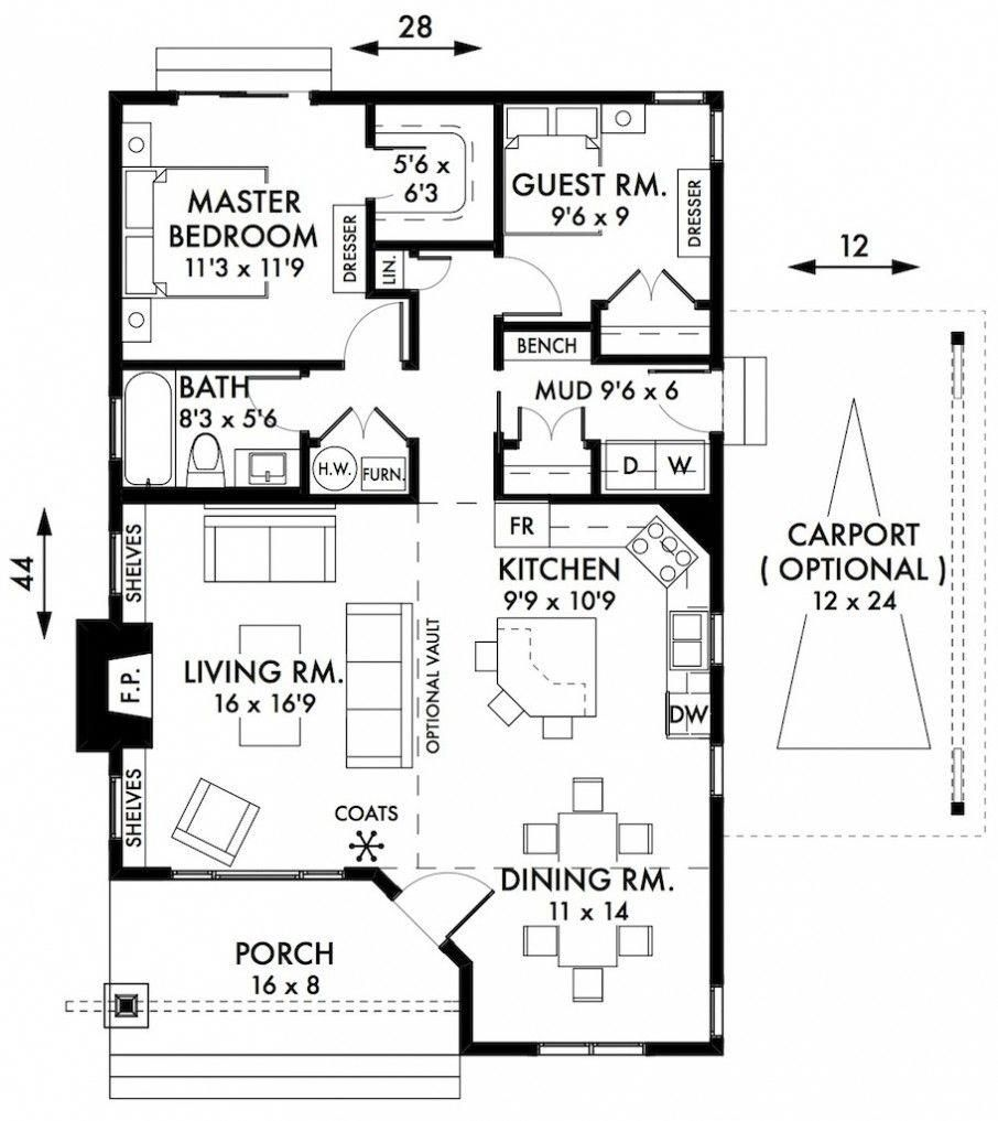 Awesome Two Bedroom House Plans Cabin Cottage House Plans Floorplan With Small Bath And A Mudroom Als Two Bedroom House Cottage Floor Plans Country House Plans