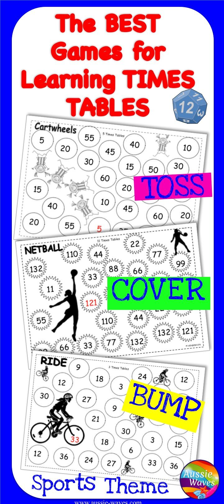Math Games TIMES TABLES Roll Cover Bump Games MULTIPLICATION | Times ...