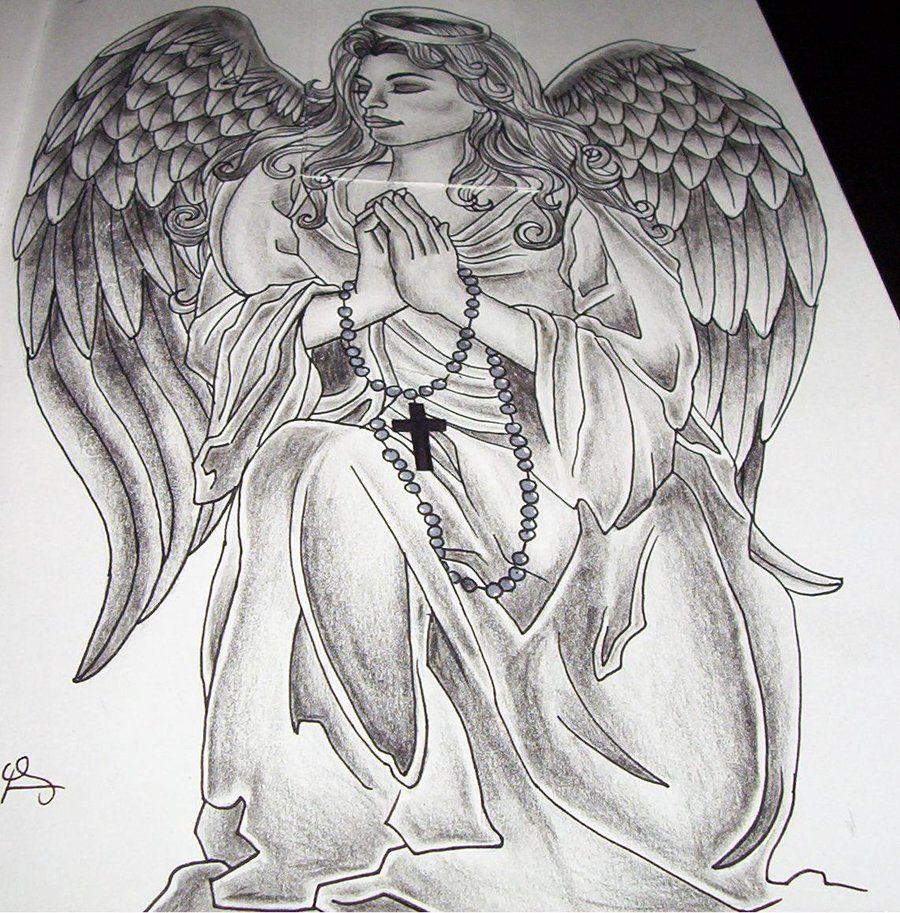 f063fc379a7b5 Angel Tattoos, Designs And Ideas : Page 8. Wonderful Praying Angel Tattoo
