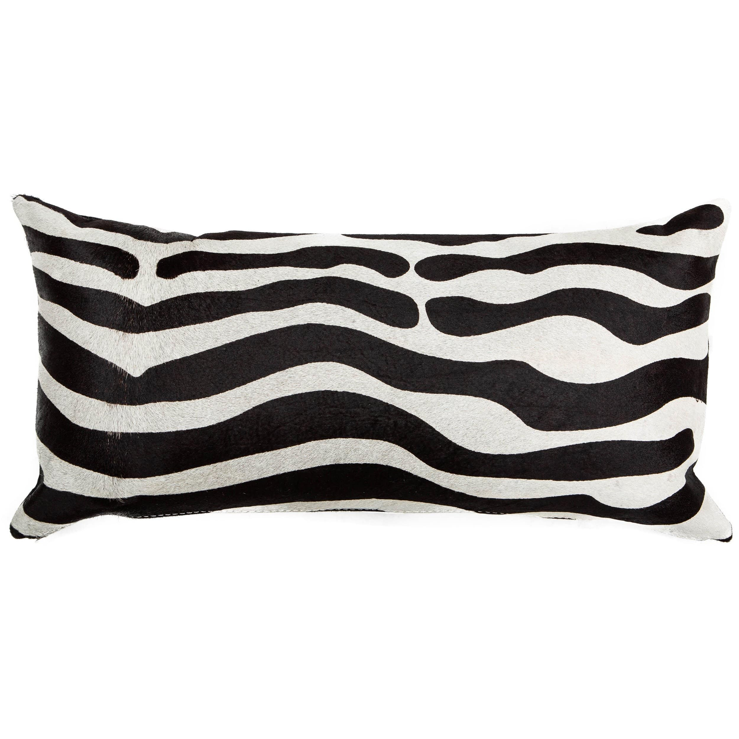 td {border: 1px solid #ccc;}br {mso-data-placement:same-cell;} The Zebra on White Hide Lumbar Pillow adds eyecatching style and texture to a setting.