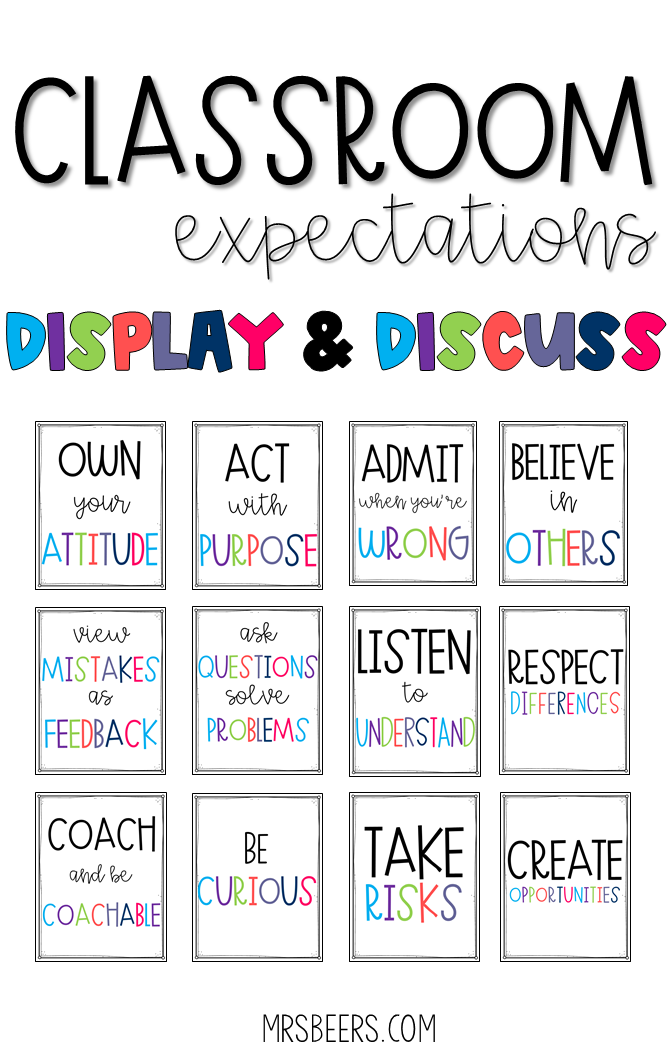 Classroom Expectations Display and Discuss for BIG KIDS