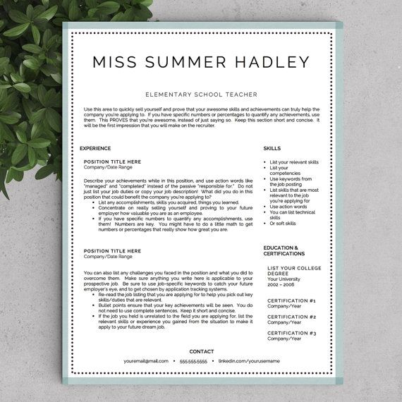 Teaching Resume Templates Teacher Resume Template For Word And Pages  13 Page Educator .