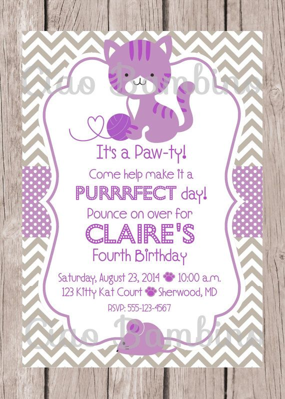 Printable kitten birthday party invitation personalized pink printable kitten birthday party invitation personalized pink blue and gray cat invitation for birthday party you print filmwisefo Image collections