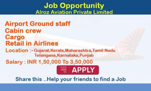 Jobs In Alroz Aviation Airport Ground Staff Cabin Crew Cargo
