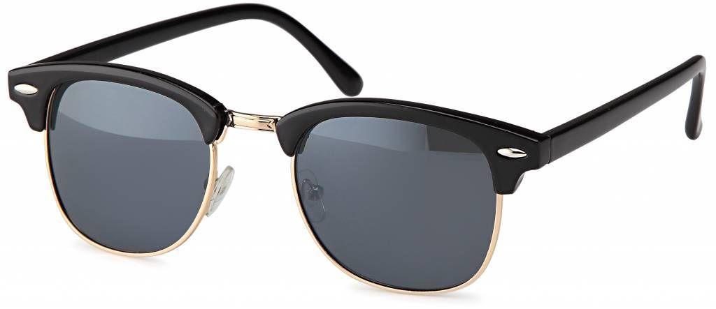 Zwarte clubmaster zonnebril