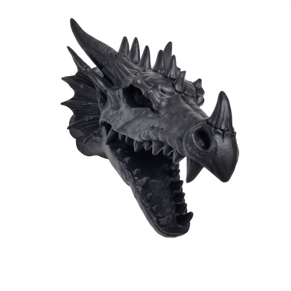 Faux Taxidermy Black Dragon Head Wall Mount Game Of Thrones