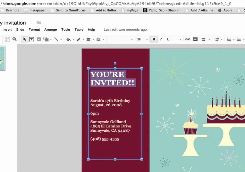 google doc party invitation template