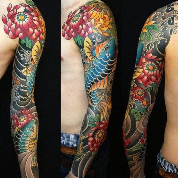 Japanese Style Sleeve Tattoo Flowers Koi Samurai: 112+ Half Sleeve Tattoos For Men And Women [2019]