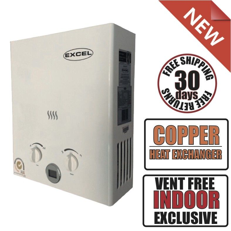 excel tankless gas water heater 1.6 gpm lpg (propane) ventfree