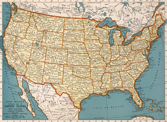 Old map of United States of America map Digital -Vintage Art ...