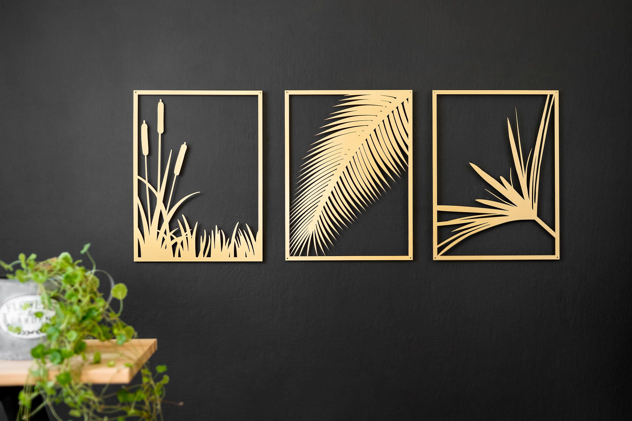 Set Of 3 Gold Metal Art Modern Art Leaves Palm Frond Gold Metal Wall Art Metal Wall Art Living Room Metal Wall Art Decor