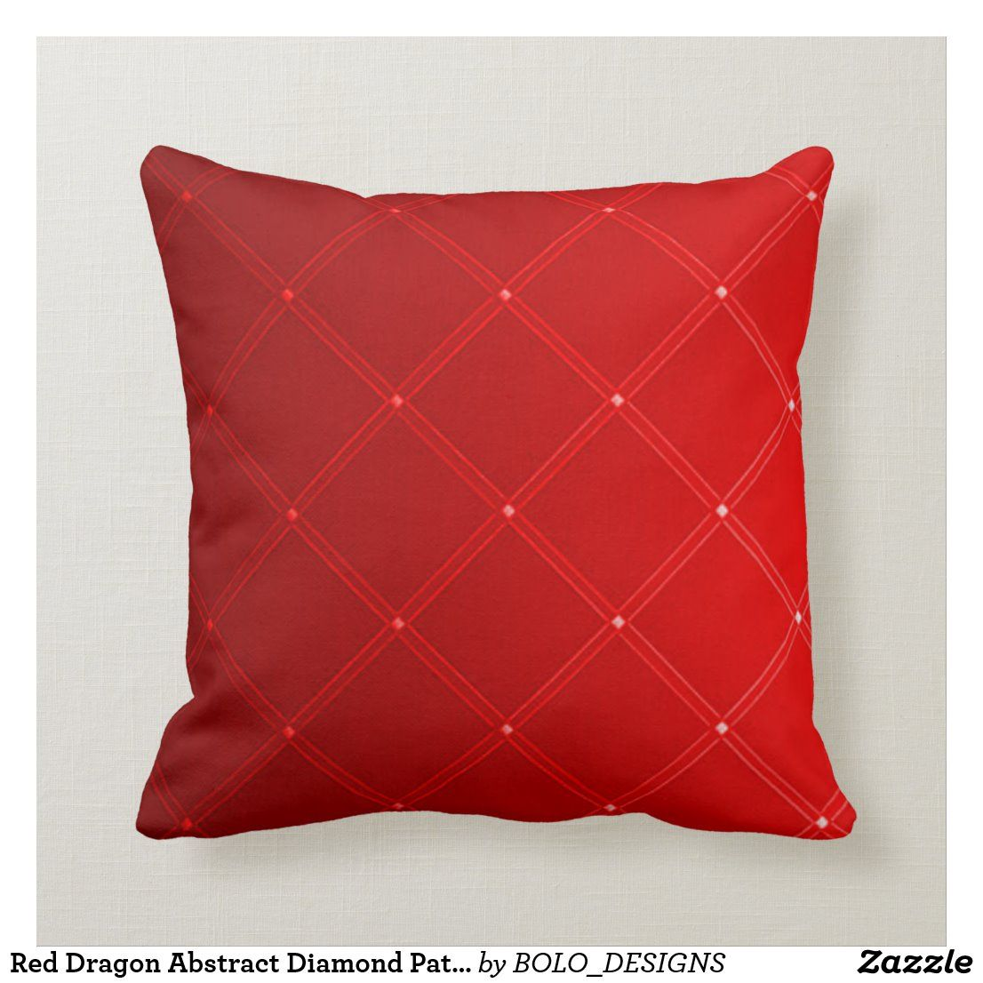 Red Dragon Abstract Diamond Pattern Throw Pillow Zazzle Com Patterned Throw Pillows Throw Pillows Pillows